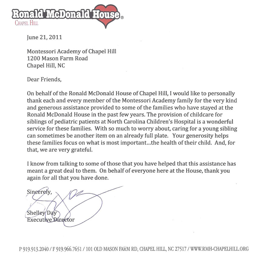 letter from Ronald McDonald House of CH